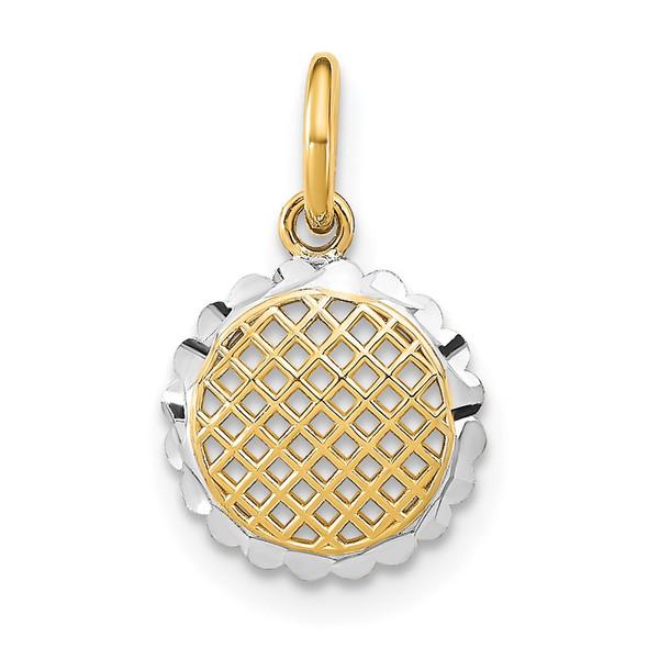 14k Yellow Gold w/ Rhodium-Plated and Diamond-cut Mini Sunflower Charm