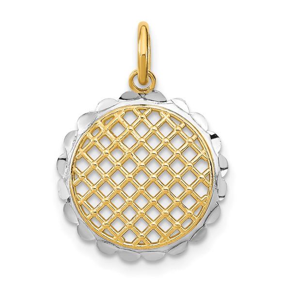 14k Yellow Gold And Rhodium Diamond-Cut Sunflower Charm Charm