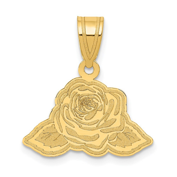 14k Yellow Gold Laser Cut Rose with Leaves Charm YC1184