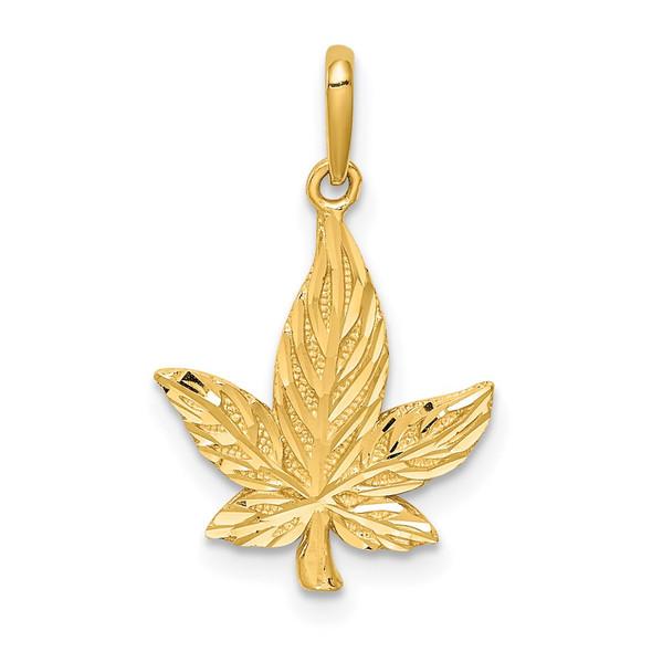 14k Yellow Gold Diamond-Cut Leaf Charm
