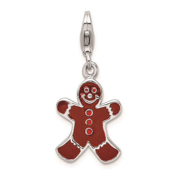 Sterling Silver Enamel Gingerbread Man w/Lobster Clasp Charm