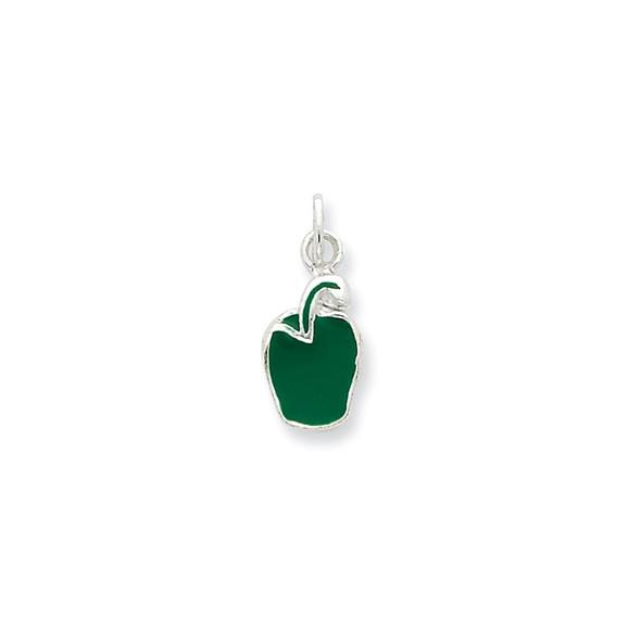 Sterling Silver Enameled Green Pepper Charm