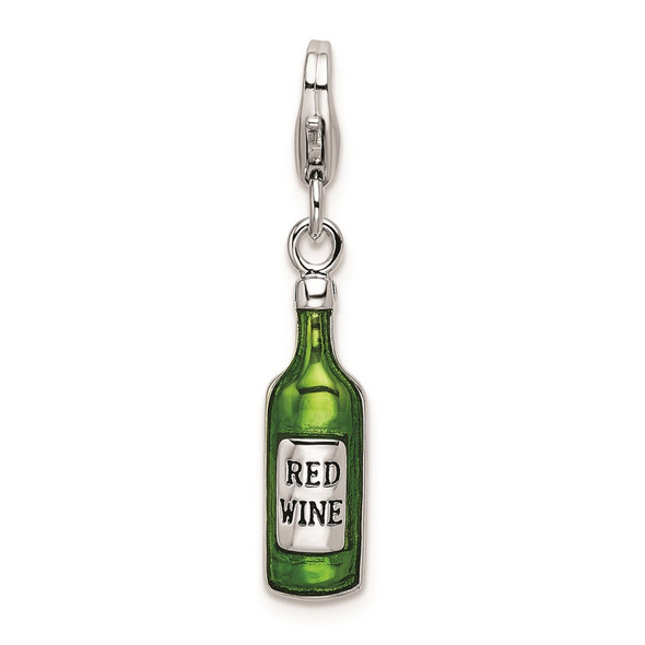 Rhodium-Plated Sterling Silver Enameled Bottle w/Lobster Clasp Charm