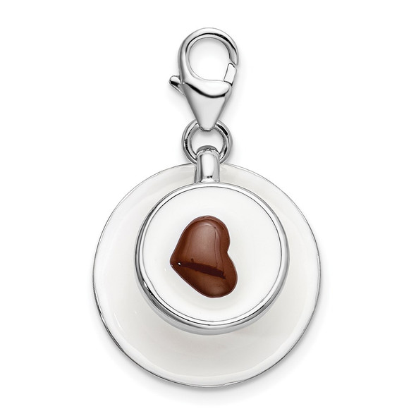 Sterling Silver 3-D Enameled Cappuccino w/Lobster Clasp Charm