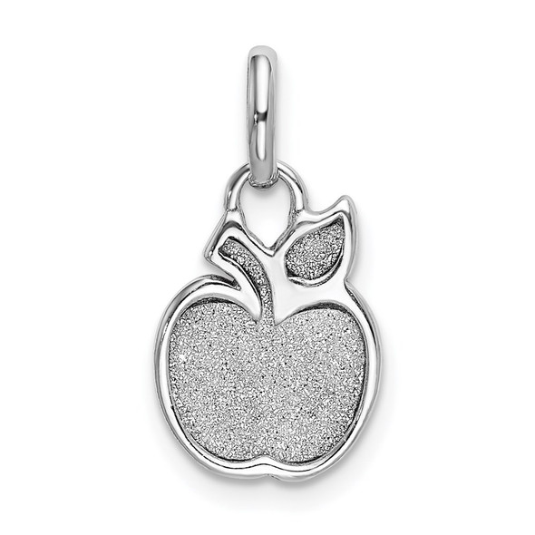 Rhodium-Plated Sterling Silver Polished Enamel and Glitter Apple Charm