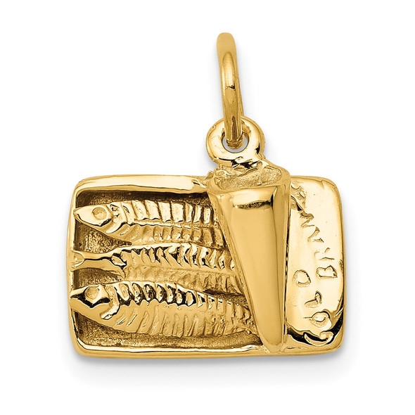 14k Yellow Gold 3D Sardine Can Charm