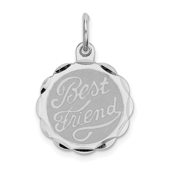 Sterling Silver Rhodium-plated Best Friend Disc Charm