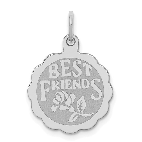 Sterling Silver Rhodium-plated Best Friends Disc Charm