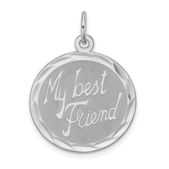 Sterling Silver Rhodium-plated My Best Friend Disc Charm