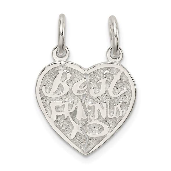 Sterling Silver Best Friends 2-Piece Break Apart Heart Charm QC602