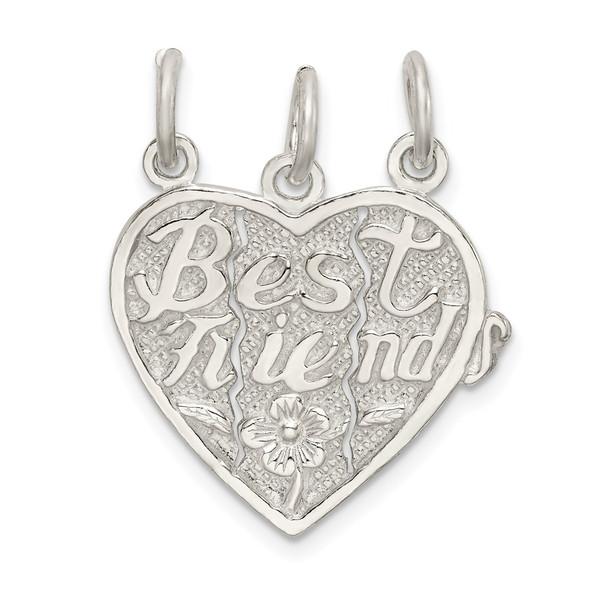 Sterling Silver Best Friends 3-Piece Break Apart Heart Charm