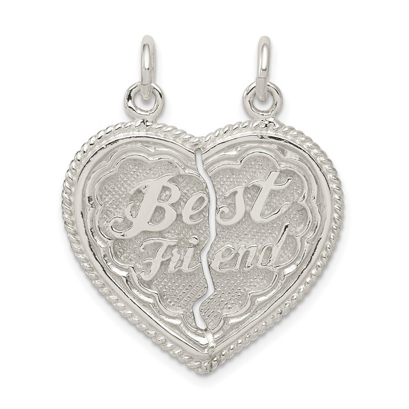 Sterling Silver Best Friend 2-Piece Break Apart Heart Charm QC608