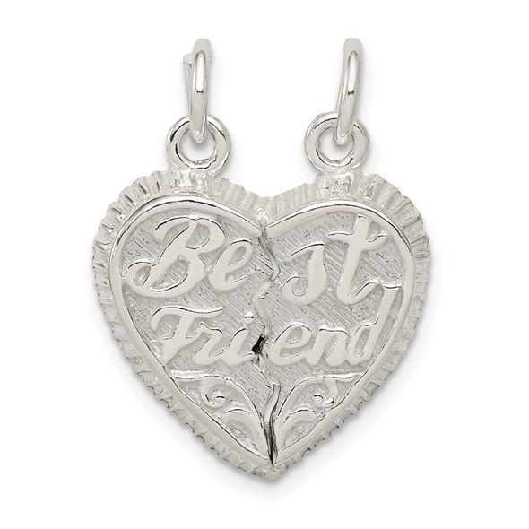 Sterling Silver Best Friend 2-Piece Break Apart Heart Charm QC599