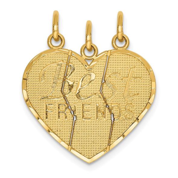 14k Yellow Gold 3 piece Break-apart BEST FRIENDS Charm