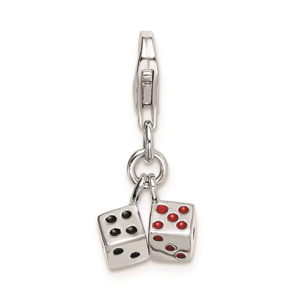 Rhodium-Plated Sterling Silver 3-D Enameled Pair Of Dice w/Lobster Clasp Charm