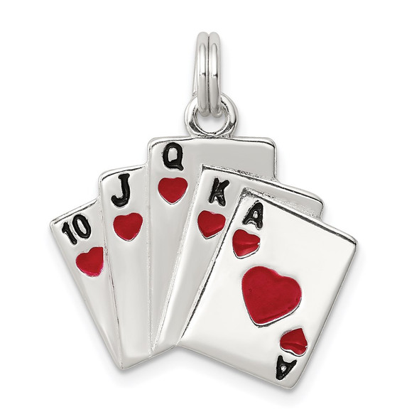Sterling Silver Enamel & Polished Royal Flush Charm