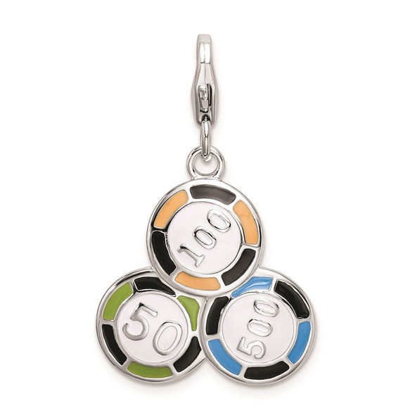 Rhodium-Plated Sterling Silver Enameled Casino Chips w/Lobster Clasp Charm