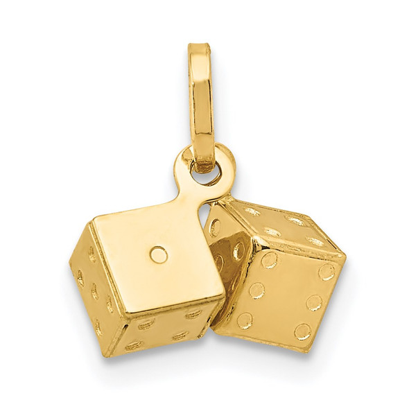 14k Yellow Gold 3D Dice Charm