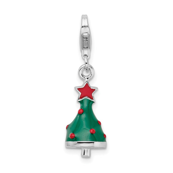 Rhodium-Plated Sterling Silver 3-D Enameled Christmas Tree W/Lobster Clasp Charm