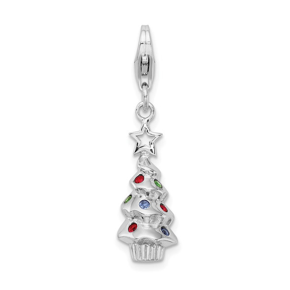 Rhodium-Plated Sterling Silver Multicolor Glass Tree w/Lobster Clasp Charm