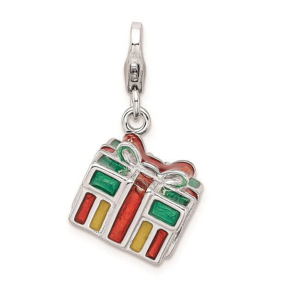 Sterling Silver 3-D Enameled Gift Box w/Lobster Clasp Charm