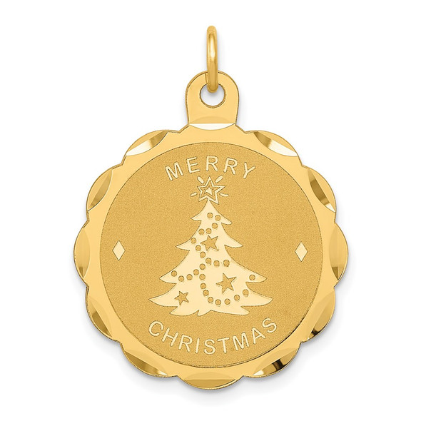 14k Yellow Gold Merry Christmas Disc Charm XAC87