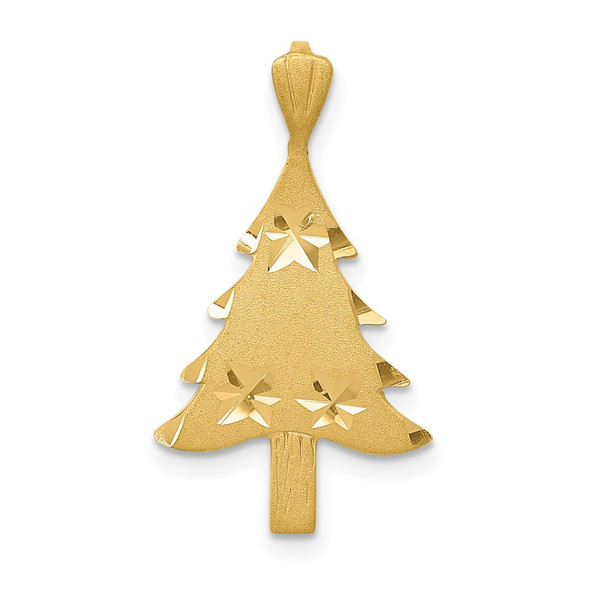 14k Yellow Gold Diamond-Cut Christmas Tree Charm