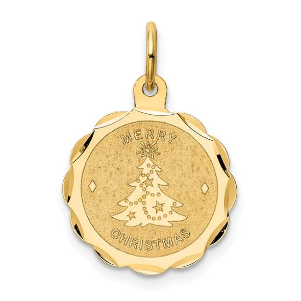 14k Yellow Gold Merry Christmas Disc Charm XAC34