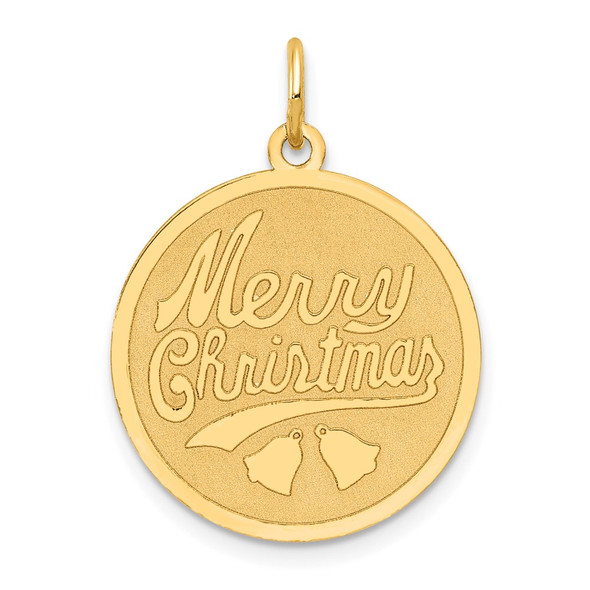 14k Yellow Gold Merry Christmas Disc Charm A4124/L