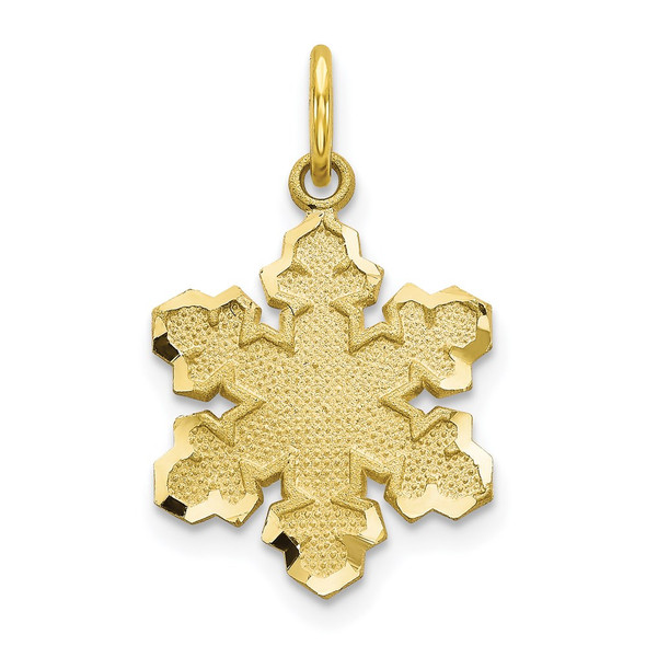 10k Yellow Gold Solid Satin Snowflake Charm