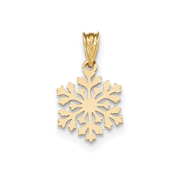 14k Yellow Gold Laser Cut Snowflake Charm YC1186