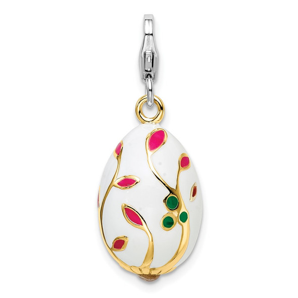 Sterling Silver 3-D Enameled Gold-Plated White Egg w/Lobster Clasp Charm