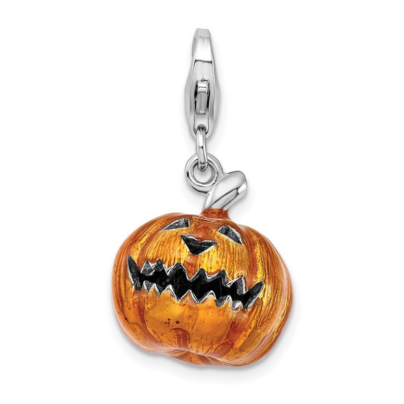 Sterling Silver 3-D Enameled Jack O Lantern w/Lobster Clasp Charm