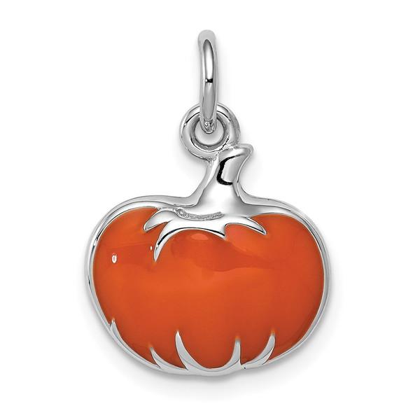 Sterling Silver Rhodium-plated Orange Enameled Pumpkin Charm