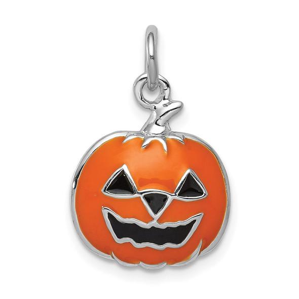 Sterling Silver Rhodium-plated Orange Jack-O-Lantern Charm