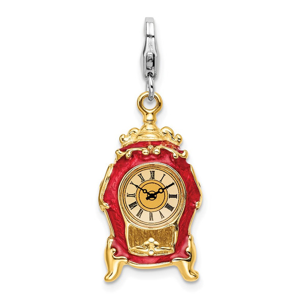Sterling Silver 3-D Enameled House Clock w/Lobster Clasp Charm