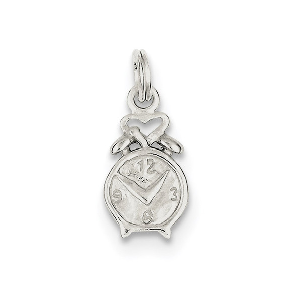Sterling Silver Polished Clock Charm