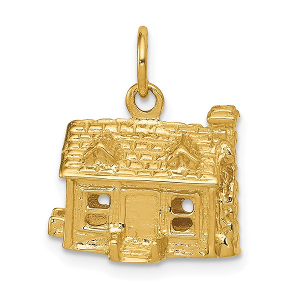 14k Yellow Gold 3-D House Charm