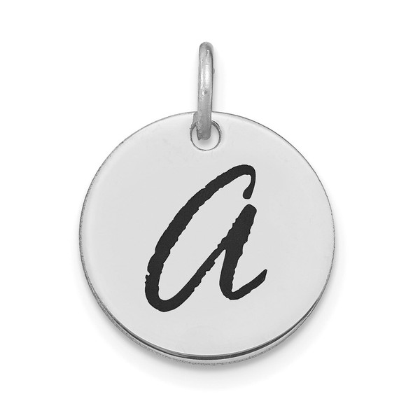 14k White Gold Polished Letter A Black Epoxy Initial Disk Charm