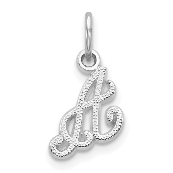 14k White Gold Casted Initial A Charm