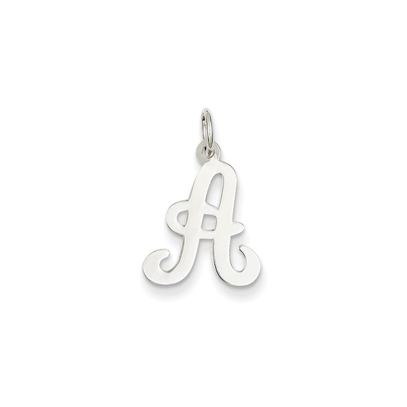 14K White Gold Initial A Charm