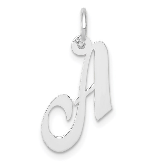 14K White Gold Small Fancy Script Initial A Charm
