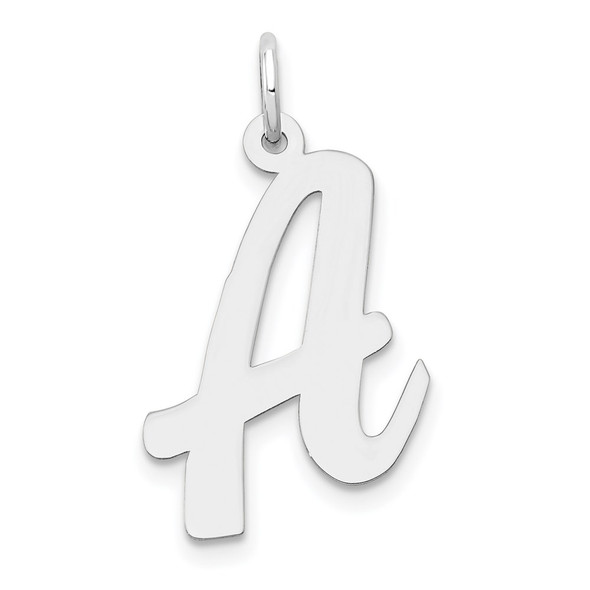 14K White Gold Large Script Initial A Charm