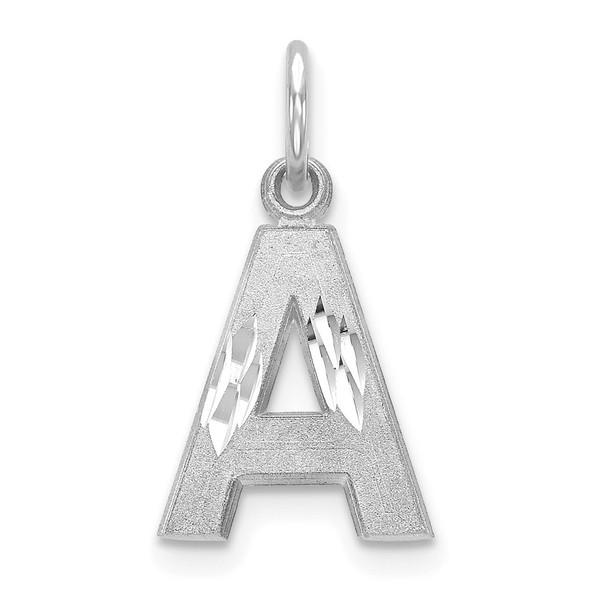 14K White Gold Satin Solid Diamond-cut Initial A Charm
