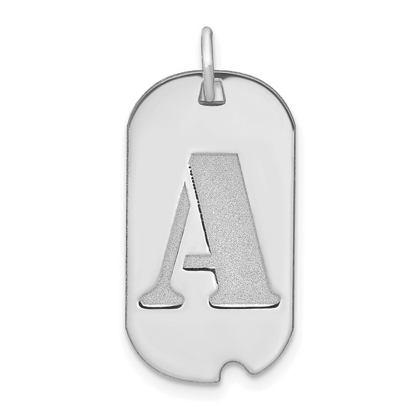 14k White Gold Polished Letter A Initial Dog Tag Charm