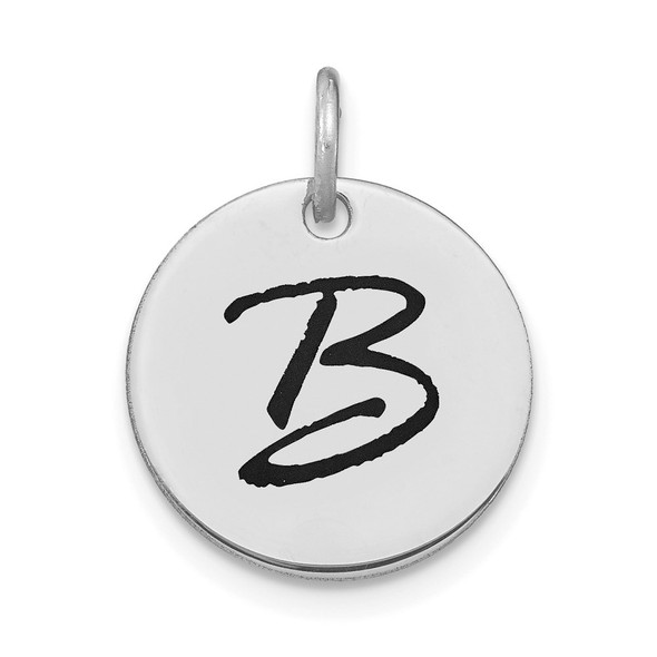 14k White Gold Polished Letter B Black Epoxy Initial Disk Charm