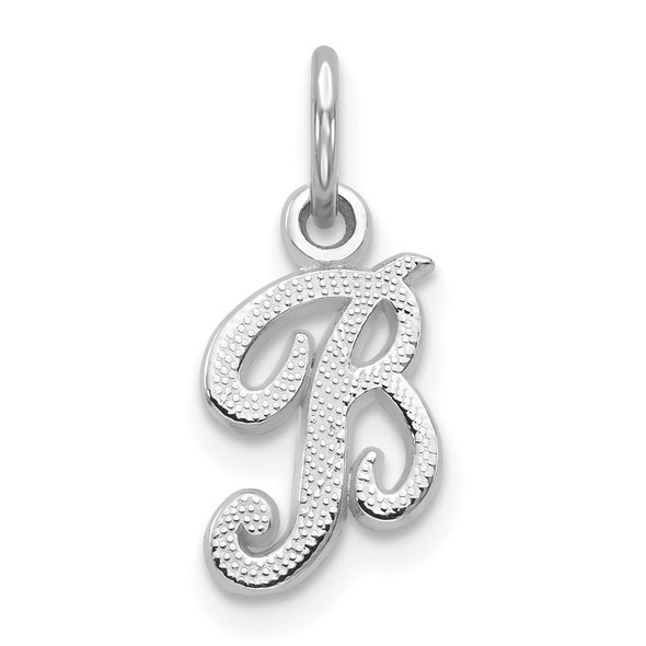 14k White Gold Casted Initial B Charm