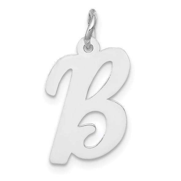 14K White Gold Medium Script Initial B Charm