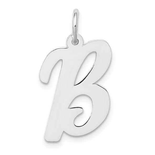 14K White Gold Large Script Initial B Charm