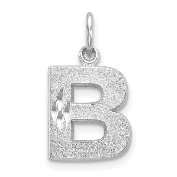 14K White Gold Satin Solid Diamond-cut Initial B Charm